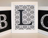 Damask Print Monogram Wall Letter Initial - 8x10 or 10x10 UNFRAMED Collage - You Choose the Colors
