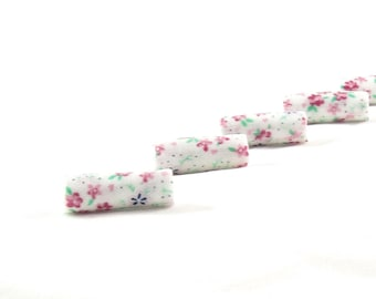 Handmade Fabric Beads Bugle Fiber Textile Beads, Big Large Hole, Lightweight  Beads in Floral Print in Pink Blue Green White Flowers