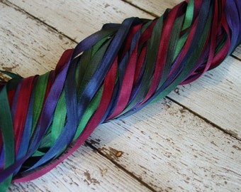 Hand Dyed Ribbon - PRECIOUS GEMS quarter inch wide ribbon, 5 yards