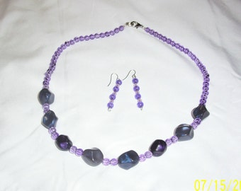 "purple bead beaded 20.5"" necklace and matching earrings set"