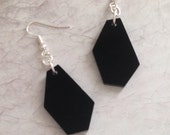 Laser Cut Earrings, Geometric Shape Jewelry, Black Acrylic Geo Earrings