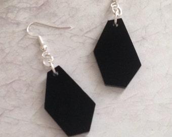 Laser Cut Earrings, Geometric Shape Jewelry, Black Acrylic Geo Earrings