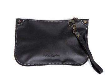 Black Leather Clutch / Leather small evening bag by Ayelet Shachar