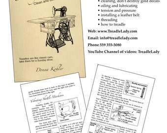 PDF Digital Treadle Sewing Machines Cleaning Book Instant Download File the Physical Book Available Separately
