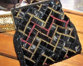 Vintage Regale Black Multi Beaded Clutch Bag / Evening Purse