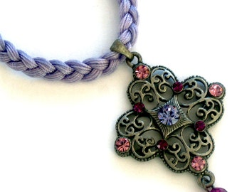 Necklace Lilac Braid Thread Cross Charm Handmade. Unique Item