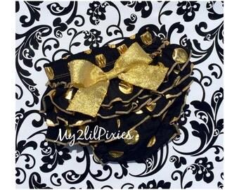 Baby Girl black and Gold bloomer, diaper cover , polka dot ruffle bum, cake smash bloomer , ruffle bum bloomer, Saints bloomer