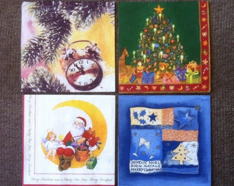 PN-62. New Year / 4 Paper Napkins / Collectibles Scrapbooking / Set of napkins for decoupage / Decoupage Set / Christmas / Santa Claus