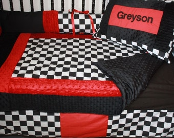 WOW! 5 piece Black and red checker minky crib bedding
