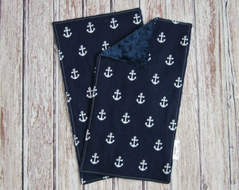 Two Anchor Minky Burp Cloths, Navy and White Burp Cloths, Anchor Baby Burp Cloths