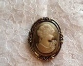 Cameo Brooch Pin Victorian Costume Jewelry Gold Black Cream Ivory