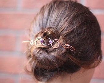 Rounds and hoops hair barrette in copper with wrapped amethyst stones - Hair slide - Hair accessories - Shawl pin - HP009