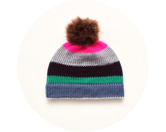 Pompom hat, stripey knit beanie, winter accessory FREE SHIPPING