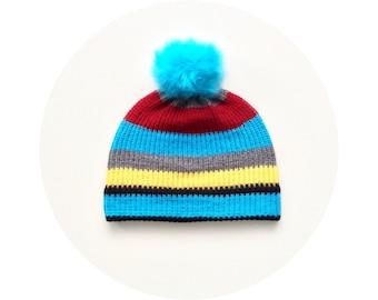 Winter pompom hat, striped ski beanie, winter bobble beanie FREE SHIPPING