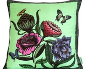 Flowers and Butterflies Printed Silk Cushion/Pillow