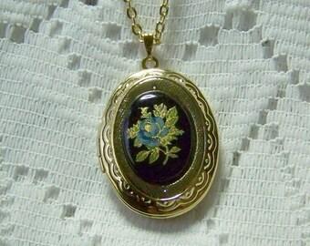 Blue Rose on Black Oval Cameo Gold Locket, Black, Blue, Gold, Photo keeper, Victorian Locket, Flower Garden, Victorian Rose, black and blue