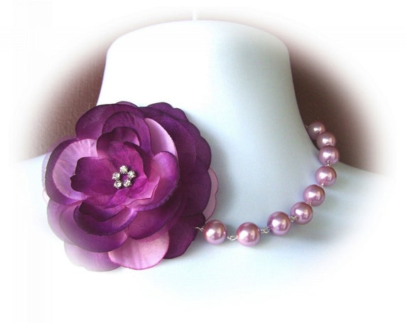 Steampunk, Saloon Girl Choker Pearl Necklace, Dramatic Purple Eggplant Flower Necklace, Shades of Purple, Amethyst, Orchid, Bridesmaids