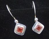 Garnet Earrings, Vintage Garnet Earrings, Red Garnet Sterling Silver Earrings, Gemstone Earrings, January Birthstone, 925 Sterling Silver