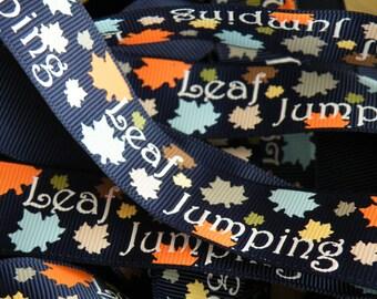 7/8 Fall Leaves Ribbon, Fall Ribbon, Leaf Ribbon, Back to School, Thanksgiving Ribbon, Autumn ribbon by the yard