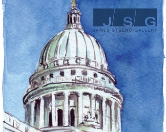 Wisconsin State Capitol Building in Madison Watercolor Art Print by James Steeno