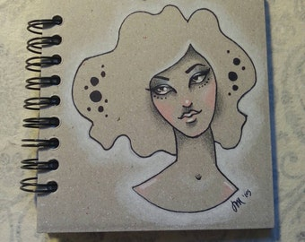 One of a kind, original colored pencil and ink drawing on small spiralbound notebook