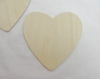 "5 Large wooden hearts , 4 1/2"" (4.5 inches) unfinished wood hearts"