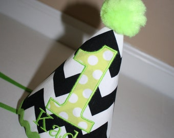 1st birthday hat for boys, black and white with lime green accents, smash cake outfit, first birthday hat, baby boys birthday hat