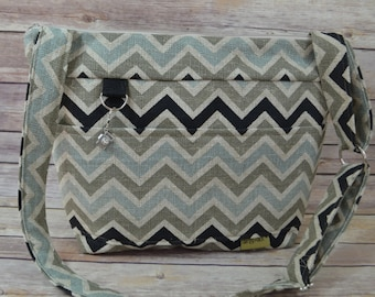 Camera Bag  Dslr, Chevron linen  Black, Khaki & aqua / womens camera purse /  Padded  Insert / Messenger / by Darby Mack