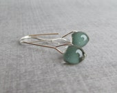 Dark Sage Green Earrings, Minimalist Wire Earrings, Modern Dangles, Sterling Silver Wire Dangle Earrings, Neutral Earrings, Sage Earrings