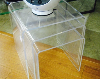 MCM lucite nesting side tables