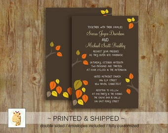Fall Leaves Autumn Tree Rustic Nature Wedding, Bridal Shower, Baby Shower Custom PRINTED invitations