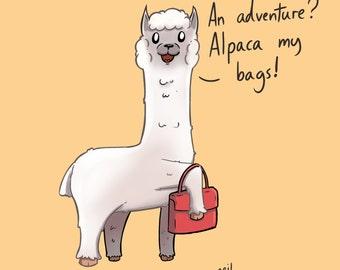 Alpaca my Bags! A4 Signed Digital Print.