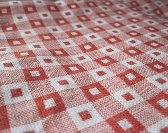 Vintage fabric, retro material, kitchen, tablecloth, apricot, squares, white checks, sewing, craft fabric, 1970s, yardage. curatins