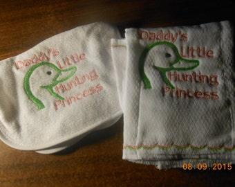 "Baby Girl ""Daddy's Hunting -- Duck"" Embriodery Bib & Burping Cloth"
