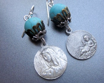 Vintage Religious Assemblage Earrings Turquoise Stones Beaded Earrings