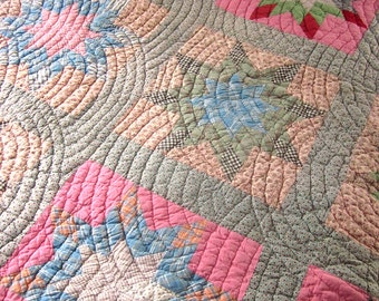 Antique Patchwork Quilt Hand Stitched Country Home Bedding Star Shape Feed sack