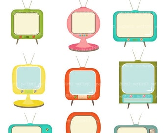 ON SALE TV clipart > Television clipart, Television Graphic, retro Television clipart, instant download