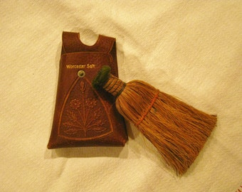 Old Straw Whisk Broom Tooled Leather Case, Victorian Table Crumb Sweeper, Antique Shoe Shine or Clothing Brush, Worcester Salt Floral Design