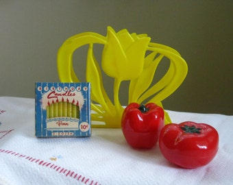 Vintage 1950s plastic kitchen decor Yellow tulip napkin holder Red pepper Tomato salt and pepper shaker unopened new in box birthday candles