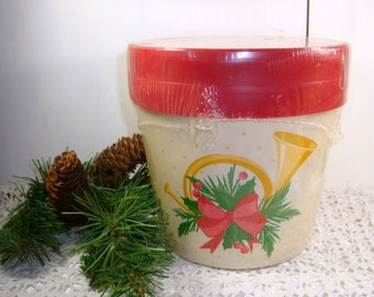 Holiday Containers x 2 With Red Lids, Gift and Goody Package, Plastic, 60 Ounces, Freezer Safe, Parker Plastics, Christmas Bucket   (711-15)