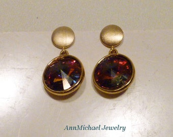 Rainbow/Multicolored Swarovski Crystal Vitrail in gold plated settings and Gold Vermeil Discs Stud Earrings