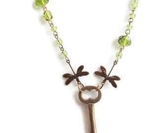 SALE  Vintage Key Necklace. Dragonfly Necklace. Key. Vintage. Dragonfly. Glass. Chain. Brass