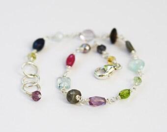 Colorful Bracelet, Gemstone Bracelet, Colorful Gemstone Bracelet, Gem Stone Bracelet, Stone Bracelet, Multi Gemstone Jewelry, Stone Jewelry