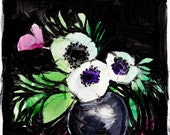 Isabelle - Painting - Abstract Floral - Pink - Anemone - Illustration - 11x11 Giclee Print - Home Decor