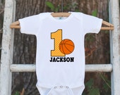 First Birthday Basketball Outfit - Personalized Bodysuit For Boy's 1st Birthday Party - Basketball Onepiece Birthday Outfit With Name & Age