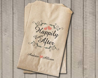 Rustic Wedding Favor Bags, Happily Ever After Favor Bags, Personalized Wedding Candy Bags, Fairytale Wedding Candy Buffet Bags