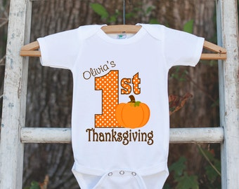 First Thanksgiving Shirt - Thanksgiving Onepiece - Baby's First Thanksgiving With Pumpkin and Child's Name - Girl First Thanksgiving Outfit