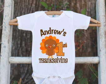 First Thanksgiving Shirt - Thanksgiving Onepiece - Baby's First Thanksgiving With Turkey and Child's Name - Boy First Thanksgiving Outfit