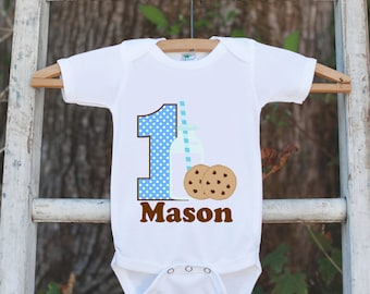 First Birthday Milk & Cookies Bodysuit - Personalized Shirt For Boy's 1st Birthday Party - Cookie Onepiece Birthday Outfit w/ Name and Age