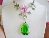 Pink Flower Crystal Green  Pendant Silver